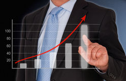 Businessman with chart Royalty Free Stock Photography