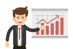 Businessman with chart. Royalty Free Stock Photography