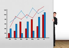 Businessman and chart Royalty Free Stock Photography