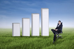 Businessman with chart on the meadow Stock Images