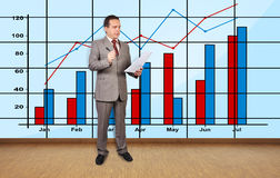 Businessman and chart Stock Photo