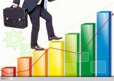Rising company. Businessman on a chart rising company stock photos