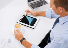 Businessman with chart on tablet pc and coffee Stock Image