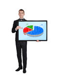Businessman with chart Stock Images