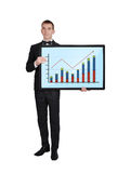 Businessman with chart Stock Photo