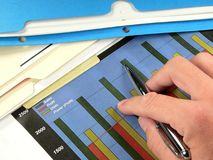 Businessman Charting Profits. A businessman examines the latest profit and sales chart Stock Image