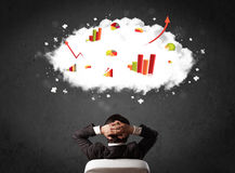 Businessman with charts in a cloud above his head Stock Photos