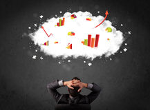Businessman with charts in a cloud above his head Royalty Free Stock Images