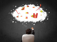 Businessman with charts in a cloud above his head Stock Image