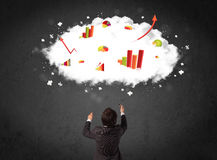 Businessman with charts in a cloud above his head Royalty Free Stock Image