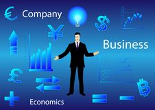 Businessman among charts and financial symbols. Businessman black suit and glasses among charts and financial symbols, charts, currency signs, in blue. Vector Royalty Free Stock Images