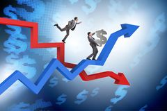 The businessman with charts of growth and decline. Businessman with charts of growth and decline stock illustration