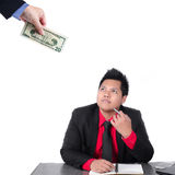 Businessman chase people with money. Metaphor Royalty Free Stock Photo