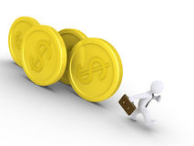 Businessman is chased by coins. 3d businessman is being chased by rolling dollar coins Royalty Free Stock Photography