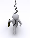 Businessman is chased by crack. 3d businessman is running to avoid crack on the ground Royalty Free Stock Images