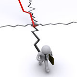 Businessman chased by crack from graph. 3d businessman running away of crack made by graph Stock Photo