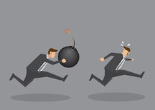 Businessman Chasing After Another with a Bomb Stock Image