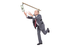 Businessman chasing a dollar Royalty Free Stock Images