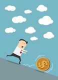 Businessman chasing dollar coin in cartoon style Royalty Free Stock Image