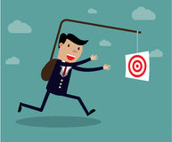 Businessman chasing his target, Motivation concept. Creative vector cartoon illustration on self defeating method to achieve wealth concept Royalty Free Stock Images