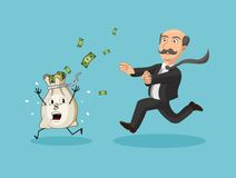 Businessman chasing money bag Stock Images