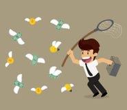 Businessman chasing money bulb bank flying Stock Image