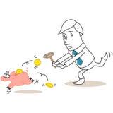 Businessman chasing piggy bank Stock Photography