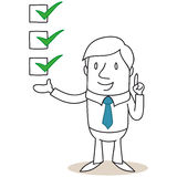 Businessman with check boxes Stock Photos