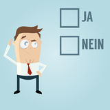 Businessman with check boxes. In German meaning yes or no Stock Images