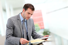 Businessman checking appointments in agenda Royalty Free Stock Image