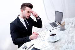Businessman checking appointments in the calendar Stock Photo