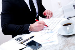 Businessman checking appointments in the calendar Royalty Free Stock Images