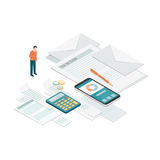 Bills and payments. Businessman checking bills, invoices and tax forms: payments, accounting and business management concept stock illustration