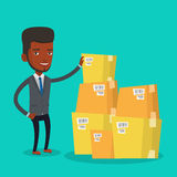Businessman checking boxes in warehouse. African-american businessman working in warehouse. Businessman checking boxes in warehouse. Young businessman preparing royalty free illustration