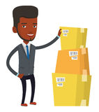 Businessman checking boxes in warehouse. African businessman working in warehouse. Businessman checking boxes in warehouse. Businessman in warehouse preparing vector illustration
