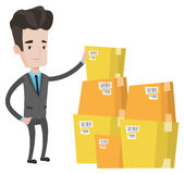 Businessman checking boxes in warehouse. Caucasian businessman working in warehouse. Businessman checking boxes in warehouse. Businessman in warehouse preparing royalty free illustration