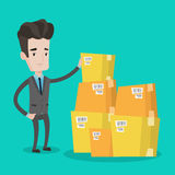Businessman checking boxes in warehouse. Caucasian businessman working in warehouse. Businessman checking boxes in warehouse. Young businessman in warehouse stock illustration