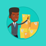 Businessman checking boxes in warehouse. Businessman working in warehouse. Businessman checking boxes in warehouse. Business man in warehouse preparing goods stock illustration