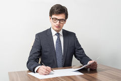 Businessman is checking contracts Royalty Free Stock Images