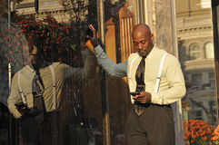Businessman Checking Email on Mobile Phone Stock Images