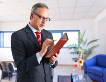 Businessman checking his agenda Royalty Free Stock Images