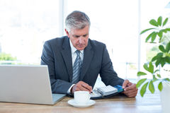 Businessman checking his diary Stock Images