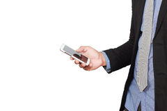 Businessman checking mail on smart phone Stock Photo