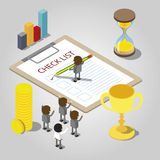 Businessman checking mark on checklist. Vector isometric Stock Image