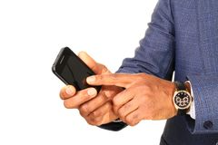 Businessman checking the phone Royalty Free Stock Images