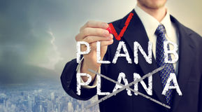 Businessman checking PLAN B Royalty Free Stock Photo