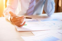 Businessman checking reports stock image