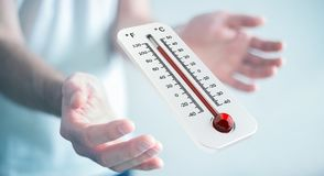 Businessman checking the temperature rise 3D rendering. Businessman checking the temperature rise with a thermometer 3D rendering Stock Image