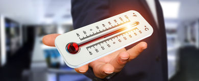 Businessman checking the temperature rise 3D rendering. Businessman checking the temperature rise with a thermometer 3D rendering Royalty Free Stock Photography