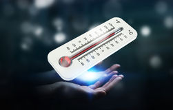 Businessman checking the temperature rise 3D rendering. Businessman checking the temperature rise with a thermometer 3D rendering Stock Images